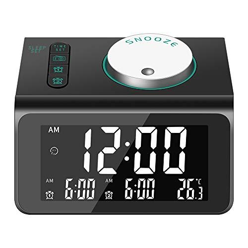 Sveglia Digitale da Comodino,Radiosveglia FM Digitale con Doppio Allarme,LCD Sveglia da Comodino con 5 Luminosità Regolabile,Snooze,auricolare,porte USB doppie per smartphone e tablet Ricarica (Nero)