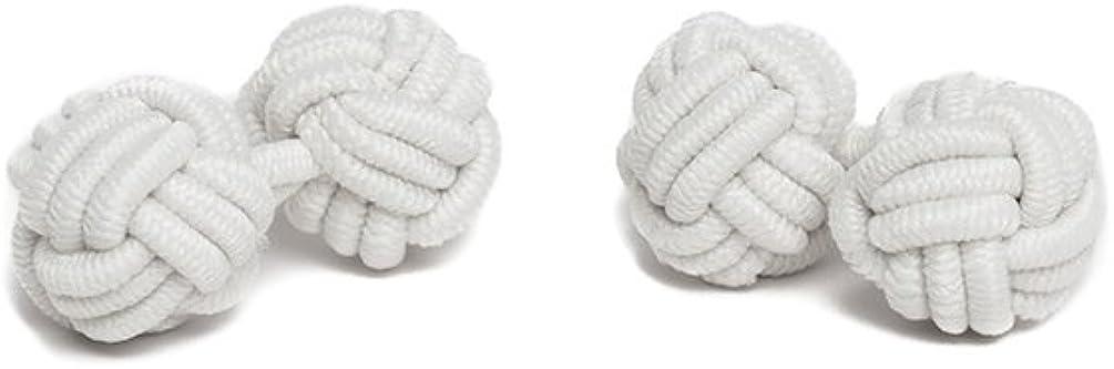 Jacob Alexander Pair of Solid Color Silk Knot Cufflinks