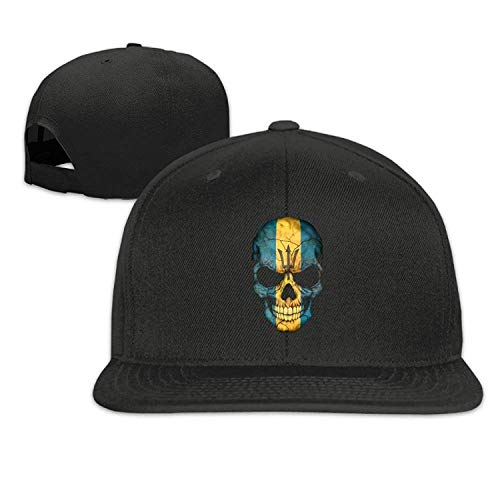 WYYCLD Barbados Flag Skull Hipster Flat-Brimmed Hip-Hop Style Baseball Cap Outdoor Snapback Hat