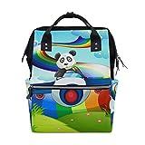 Divertido oso panda con Jetplane Rainbow pañales bolsas de gran capacidad multifunción mochila para viajes
