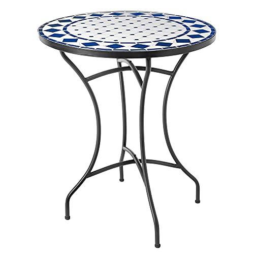 Mesita de jardín con Mosaico Delfos de cerámica Blanca y Azul de Ø 60x72 cm - LOLAhome ✅