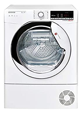 Hoover DXOH9A2TCE Freestanding Heat Pump Tumble Dryer with Aquavision, WiFi Connected, 9Kg, White