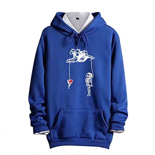 ZZBO Herren Kapuzenpullover Hoodie Pullover Mit Kapuze Langarm Beiläufige Hoody Sweatshirt mit Kängurutasche Herbst Winter Mode Druck Hooded Sweat Kapuzenpulli M-XXXL(Blau, Grau, Schwarz, Gelb)
