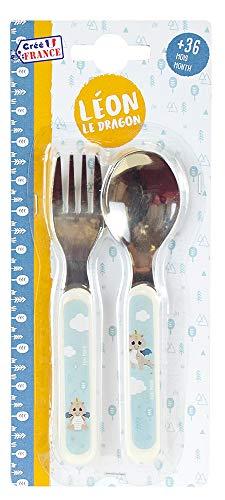 FUN HOUSE 005814 LEON LE DRAGON Set de couverts composé d'une cuillère et d'une fourchette pour enfant