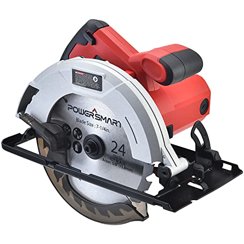 Circular Saw - 7-1/4-Inch, 14Amp 5500RPM, Integrated Dust Blower, PowerSmart Compact Circular Saw Corded