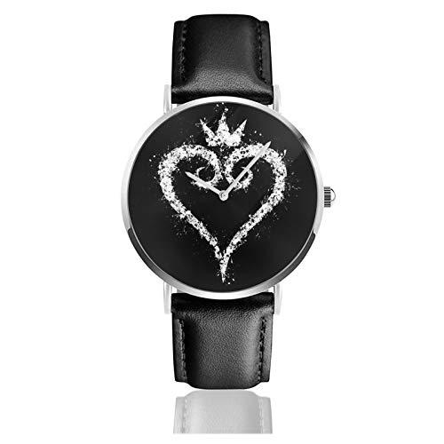 Reloj de cuero Kingdom Hearts Unisex clásico casual moda reloj de cuarzo reloj de acero inoxidable con correa de cuero