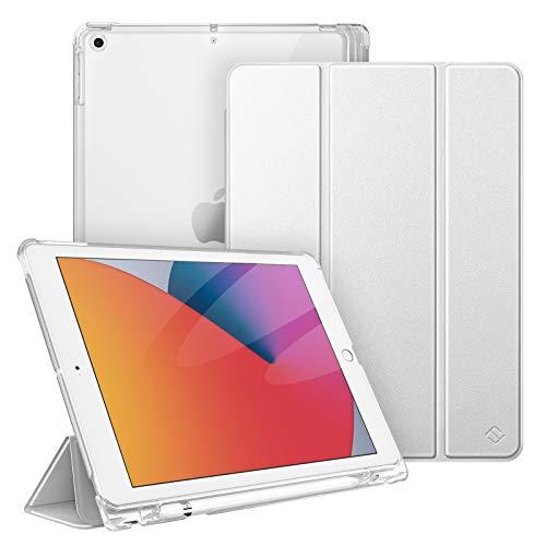 Fintie Hülle für iPad 9. Generation 2021 / 8. Gen 2020 / 7. Gen 2019 10.2 Zoll mit Stifthalter, Superdünn Leichte Schutzhülle mit durchsichtiger Rückseite Abdeckung mit Auto Schlaf/Weck, Silber