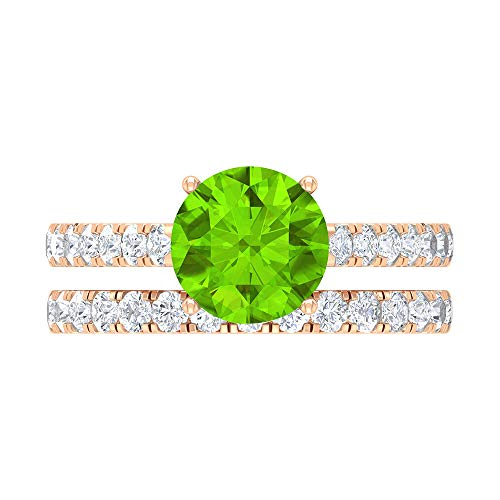 Rosec Jewels 14 quilates oro rosa redonda round-brilliant-shape H-I Green Diamond Creado en laboratorio de kryptonita