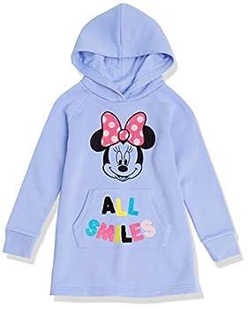 Spotted Zebra Girls  Kids Disney Star Wars Marvel Frozen Princess Fleece Long-Sleeve Hooded Dresses Minnie All Smiles Medium