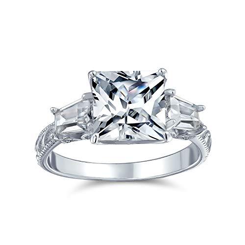 Bling Jewelry 3Ct Quadrat Brillanter Prinzessinschliff AAA CZ Seite Baguette Solitär Verlobungsring Filigrane Band 925 Sterling Silber