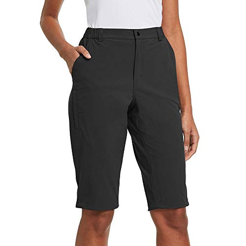 BALEAF Womens Climbing Shorts Quick Dry Short Zip Pockets for Hiking, Camping, Travel Black Size L