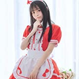 DLDLDL Corsés para Mujer Ropa de Dormir para Mujer Maid Cosplay Maid Restaurant Maid Anime Disfraz Blanco y Negro Disfraz de Halloween Rojo XXXXXL