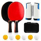 Infreecs Raquetas de Tenis de Mesa, Sets de Ping Pong con 2 Raquetas de Tenis de Mesa, 6 Pelotas, 1 Red Extensible y Bolsa, Palas Ping Pong Set para Principiantes Familias y Profesionales