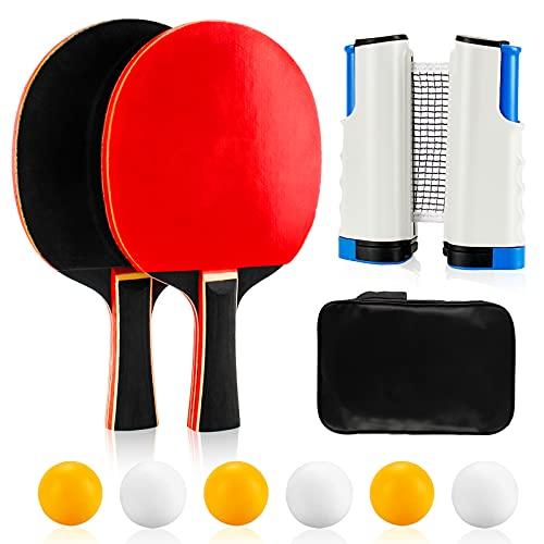 Infreecs Raquetas de Tenis de Mesa, Sets de Ping Pong con 2 Raquetas de Tenis de Mesa, 6 Pelotas, 1 Red Extensible y Bolsa,...