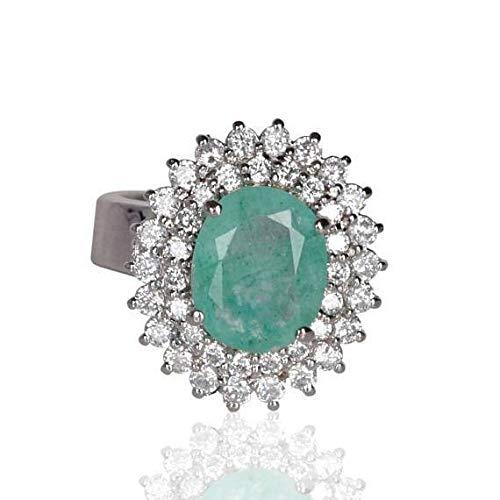 Anillo de plata de ley 925 esmeralda natural Diseñador inspirado 9-12 ct forma ovalada Anillo de esmeralda verde colombiano