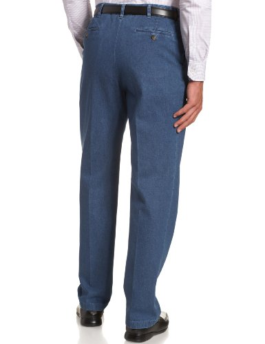 Haggar Men's Work-to-Weekend Hidden Expandable-Waist Denim Pleat-Front Pant