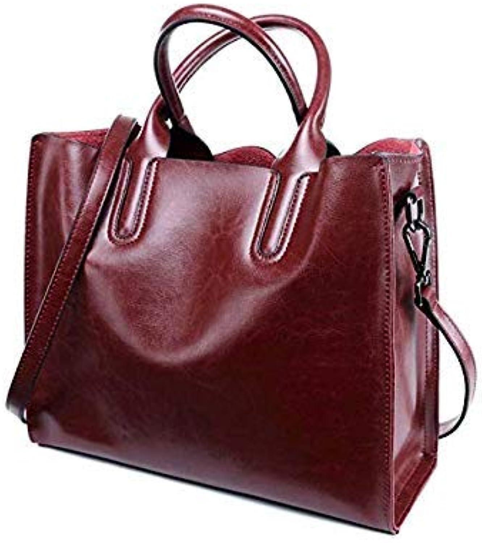 Bloomerang Female Real Leather Tote Handbag Casual Women Genuine Leather Big Bag Business Ladies Fashion Designer Handbags Luxury Cowhide color Wine Red Big