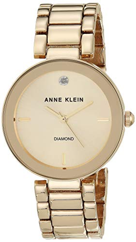 Anne Klein Women's AK/1362CHGB Diamond Dial Gold-Tone Bracelet Watch Now $27.19 (Was $27.19)