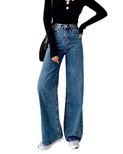Minetom Femmes Jeans Vintage Taille Haute Boyfriend Ample Bootcut Elastique Zippé Denim Long Pantalon Jambe Large D Bleu Foncé X-Small