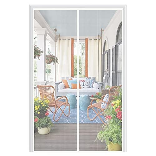 MAGZO Magnet Screen Door Fit Door Size 32 x 80, Magnetic Mesh with Heavy Duty for Entry Door Full Frame Hook&Loop- White