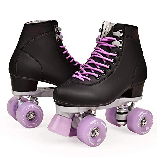 Double Row Roller Skates Ladies Men Adult Roller Skates Tricolor PU 4 Roller Skates (Lavender,8.5)