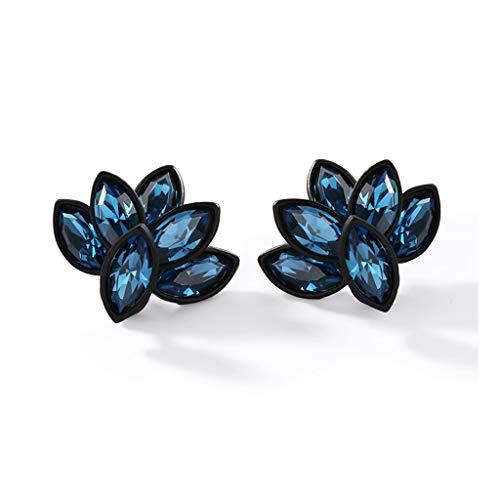 HMEI 925 Flower Earrings Stud Earrings Personalized Crystal Ear Jewelry For Girlfriends And Mothers Gift 0.9in(blue)
