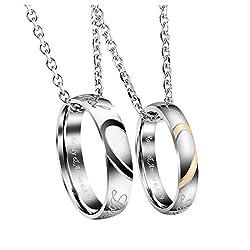 JSDDE Gratis Gravur - Personalized Edelstahl Pärchen Herz Puzzle Halskette mit Ringe Anhänger Paare Kette Ring Lasergravur Silber-mit Gravur
