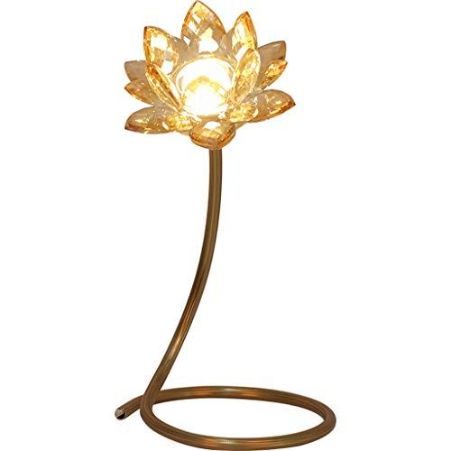 xilinshop Lámpara de Mesa Lámpara de Tabla Ligera de Lujo Dormitorio de la lámpara Loto de Cristal de la lámpara de Noche Lámpara de mesita de Noche