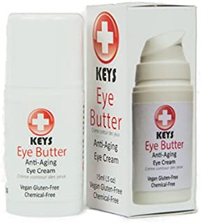 Keys Eye Butter Luminescent Natural, Vegan, Chemical-Free Moisturizing Eye Cream for Sensitive Skin in Airless Travel Pump – with Whole Cucumber Extract, Aloe Vera, Avocado Oil, and Shea, 0.5 ounces