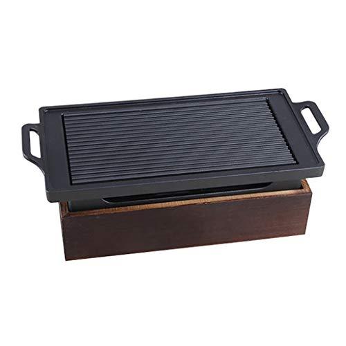 Guoguocy Elektrische grill, barbecue, koreaans, anti-aanbaklaag, bakplaat, alcohol, grill, fornuis, houten basis, binnen en buiten