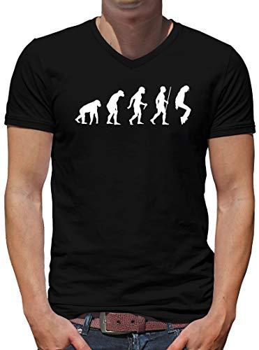 TShirt-People Evolution Thriller V-Kragen T-Shirt Herren Pop King Jackson S Schwarz