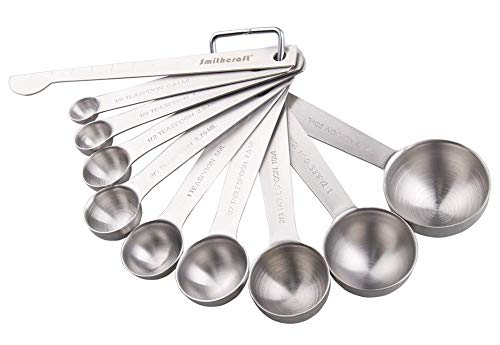 Lucky Plus Stainless Steel Measuring Spoons Set 18/8(304) Steel Material Heavy Duty 9 Measuring Spoons (10ml & 20ml) and 1 Leveler and 1 Ring Total 11pcs per Set