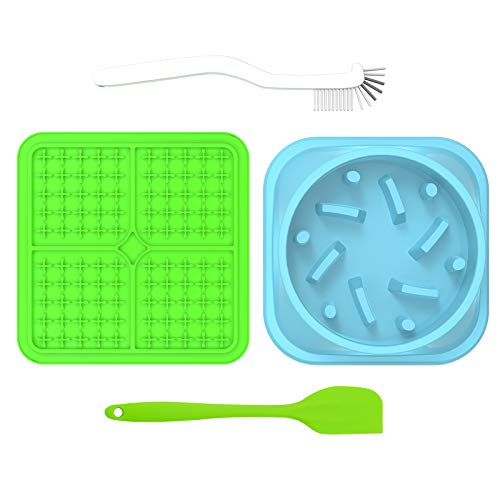 Dog Lick Mat with Slow Feeder Dog Bowl Shovel and Brush – Premium Slow Feeders Dog Bowl Mat – Pet Food Mat with Accessories – Reduces Anxiety and Boredom – Ideal for Raw Wet Foods Treats