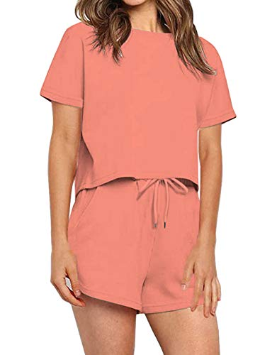 PRETTYGARDEN Women's Casual Two Piece Outfit Short Sleeve Pullover With Shorts Tracksuit Jogging Suit Casual Loungewear (Pink, X-Large)