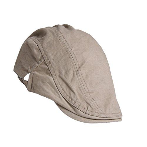 Unisex Erwachsene Schiebermütze Flache Kappe Schirmmütze Flatcap Gatsby Wollmütze Golfermütze - Khaki, one size