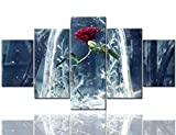 Beauty and Beast Rose Wall Decor Black and White Paintings Flower Pictures 5 Panel Canvas Contemporary Artwork Home Decor for Living Room Giclee Wooden Framed Stretched Ready to Hang(60''Wx32''H)