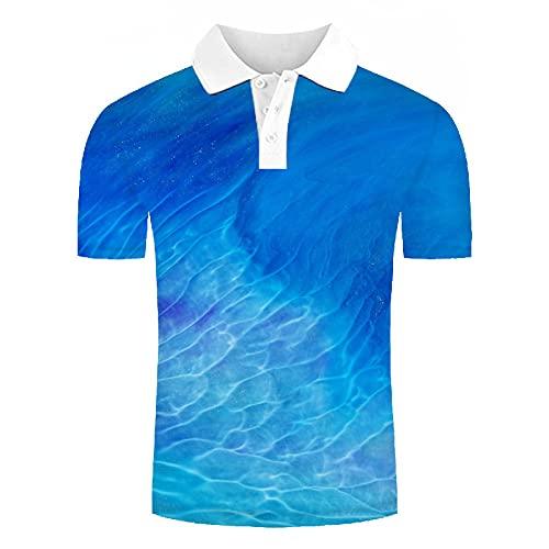 GXRGXR Polo De Manga Corta 3D - Botón De Solapa Novedoso Unisex Camiseta con Estampado De Ondas De Agua Azul Simple - Ropa De Calle Divertida Transpirable De Secado Rápido para Hombres Y Mujeres