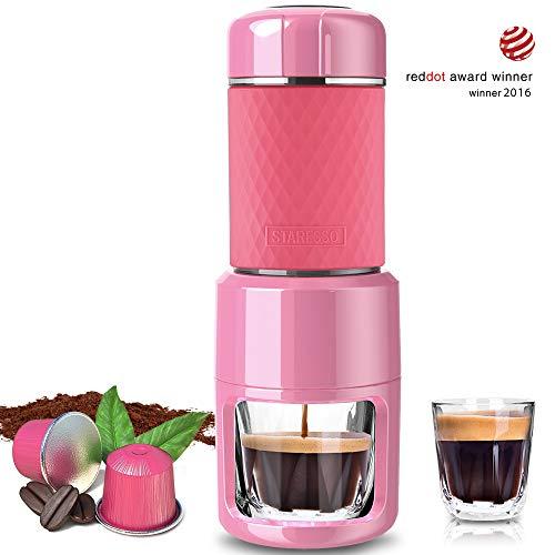 STARESSO Portable Espresso Maker - Mini Espresso Machine Pink Compatible with Nespresso Pods &...