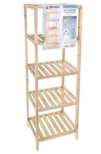 TIENDA EURASIA® Estantería de Madera Multiusos - Fácil Montaje - Gran Resistencia (Estrecho, 5 Alturas) 35 x 30 x 130 cm ⭐