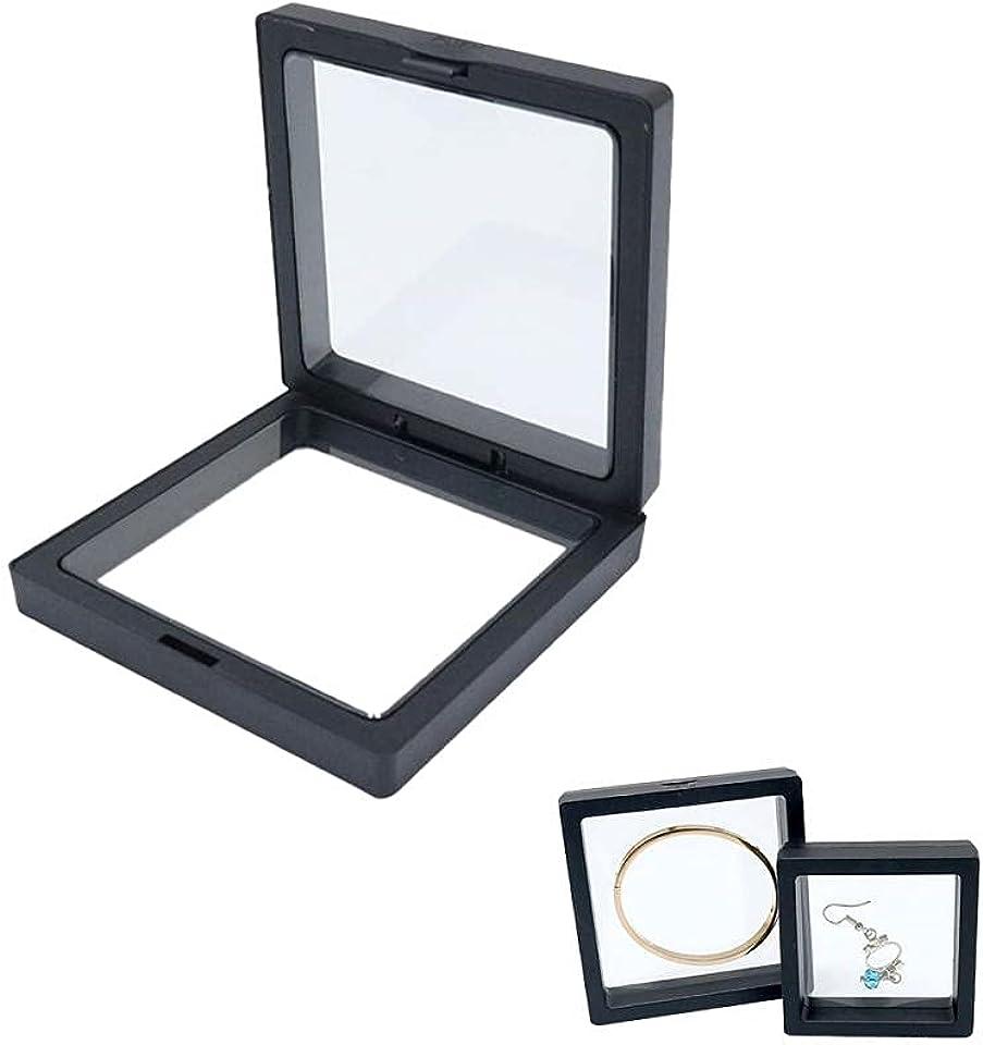 MUSJOS 5PCS-PE Film Jewelry Storage Box, Thin Film Suspension Jewelry Display Box, Transparent Jewelry Organizer Box, Jewelry Storage Rack for Ring Necklace Bracelet Earring, Black, 1111cm