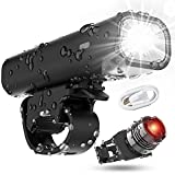 USB Rechargeable Super Bike Headlight and Back Light Set, Runtime 8+ Hours 400 Lumen Bright Cycling - Headlight Tail Rear Reflectors, 4 Light Mode Fits All Bicycles, Mountain, Road