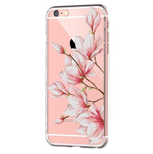 Kompatibel mit iPhone 6s/6 Hülle, iPhone 6S Schutzhülle Durchsichtig Silikon Silikonhülle Transparent TPU Bumper Schutz Handy Hülle Handytasche Handyhülle Schale Case Cover für iPhone 6 6S (Blume2)