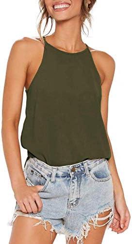 TARSE Women's Halter Cami Tank Tops Cute Flowy Camisole Shirts Sexy Sleeveless Basic Tees Blouse