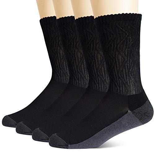 +MD Calzini diabetici senza gomma (4 paia) calzini extra larghi in vita di bambù Nero EU39-42
