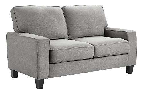 "Serta Palisades Sofas with Storage Modern Design, Track Arms, Foam-Filled Cushions, Easy-to-Clean Fabric Upholstery, 61"" Loveseat, Soft Gray"