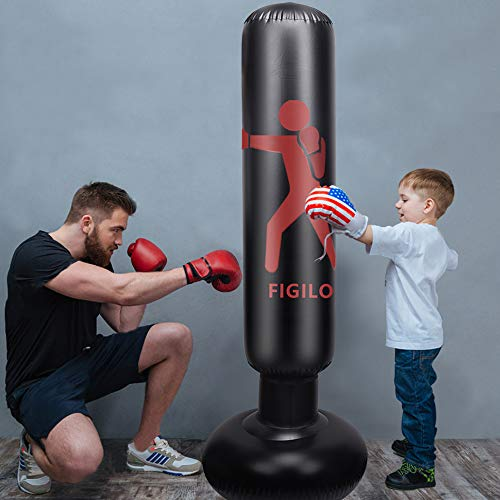 ZILINGO Boxsack Standboxsäcke Kinder 160cm, Aufblasbare Boxsäule Tumbler Kinder/Jugendliche Üben von Karate, Taekwondo, MMA, Fitness Dekompression Sandsäcke Kick Kampftraining (Luftpumpe inklusive)
