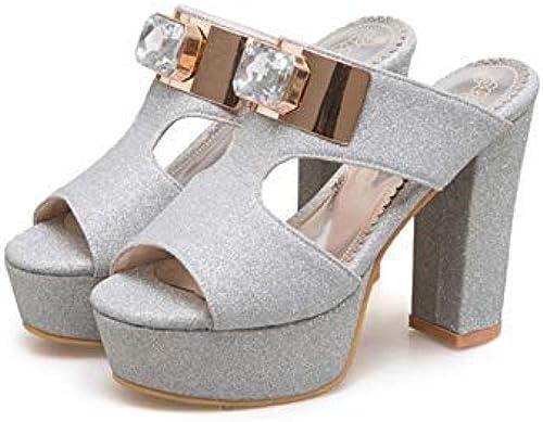HTJL Sandales à Talons pour Femmes, Femmes, Femmes, Pantoufles Sandales à la Mode Chaussures à Talons Ultra pour Les Les dames de Mariage,argent,37 8f6