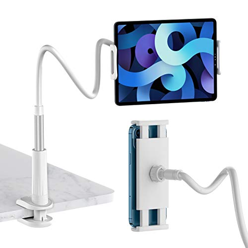 SmartDevil Collo Oca Supporto Tablet, Porta Telefono Regolabile con a Braccio Lungo 34 pollice per Diretta Streaming, Porta Tablet per iPad 10.5 Air mini 5 4 3 2 Samsung Tab Switch, 4,6 a 11 -Argento