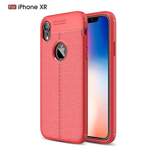 NiaCoCo Compatible con iPhone XR Funda Textura de La Piel TPU Suave Fino Anti Huella Digital Resistencia Al Terremoto Anti-Caída Caso+1*(Gratis Soporte para Teléfono)-Rojo