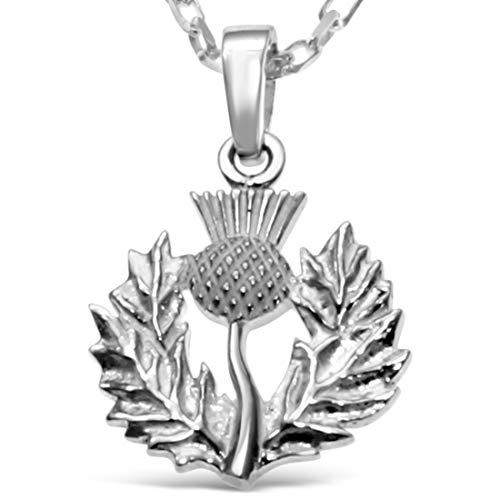 Sterling Silber Distel Anhänger–Schottische Halskette mit 45,7cm Kette